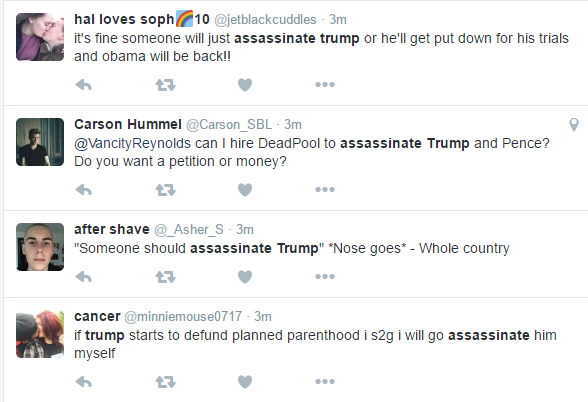Just a few of the many tweets advocating the assassination of President Elect Trump.