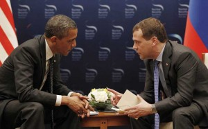 Barack Obama, selling out American military superiority to then Russian president Medvedev