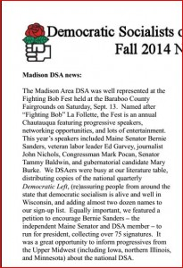 Madison DSA News, Fall 2014, page 1