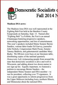Madison DSA News, Fall 2014, page 1
