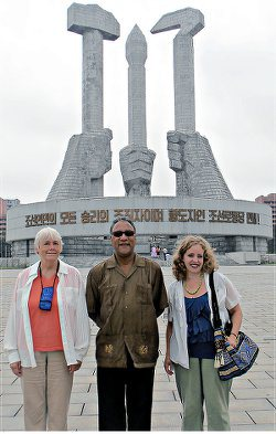 Larry Holmes, center, North Korea July 2013.