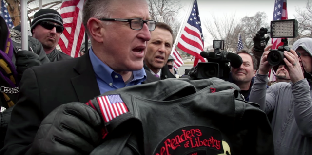 """Trevor Loudon speaks before the press to discuss his upcoming movie, """"The Enemies Within."""""""