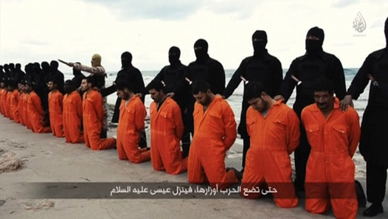 Men in orange jumpsuits purported to be Egyptian Christians held captive by the Islamic State