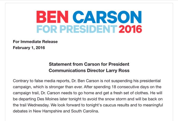 Carson press release on caucus night