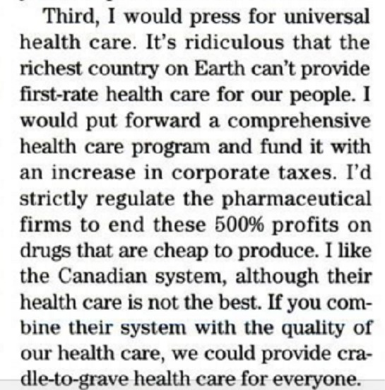 Trump Universal Healthcare proposal from 2000 via the Advocate